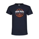 Youth Navy T Shirt-Fresno Pacific Basketball Arched w/ Ball