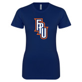 Next Level Ladies SoftStyle Junior Fitted Navy Tee-Angled FPU