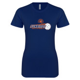 Next Level Ladies SoftStyle Junior Fitted Navy Tee-Sunbirds Volleyball w/ Flying Ball