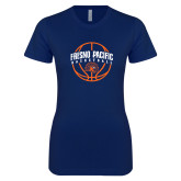 Next Level Ladies SoftStyle Junior Fitted Navy Tee-Fresno Pacific Basketball Arched w/ Ball