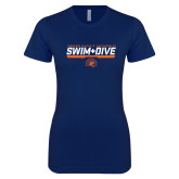 Next Level Ladies SoftStyle Junior Fitted Navy Tee-Fresno Pacific University Swim & Dive Stencil
