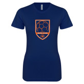 Next Level Ladies SoftStyle Junior Fitted Navy Tee-Soccer Shield