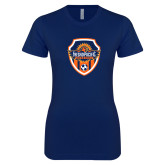 Next Level Ladies SoftStyle Junior Fitted Navy Tee-Sunbirds Soccer Shield