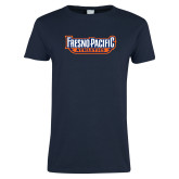 Ladies Navy T Shirt-Fresno Pacific Athletics Stacked