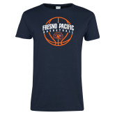 Ladies Navy T Shirt-Fresno Pacific Basketball Arched w/ Ball