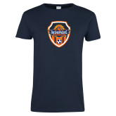 Ladies Navy T Shirt-Sunbirds Soccer Shield