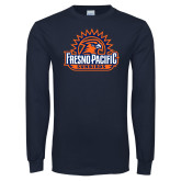Navy Long Sleeve T Shirt-Fresno Pacific Sunbirds Stacked
