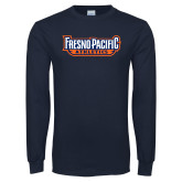 Navy Long Sleeve T Shirt-Fresno Pacific Athletics Stacked