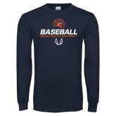 Navy Long Sleeve T Shirt-Baseball Stencil