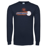 Navy Long Sleeve T Shirt-Sunbirds Volleyball w/ Flying Ball