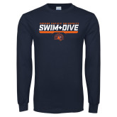Navy Long Sleeve T Shirt-Fresno Pacific University Swim & Dive Stencil