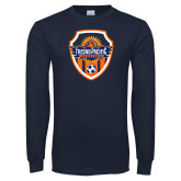 Navy Long Sleeve T Shirt-Sunbirds Soccer Shield