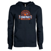 ENZA Ladies Navy Fleece Full Zip Hoodie-Fresno Pacific Sunbirds Stacked