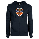 ENZA Ladies Navy Fleece Full Zip Hoodie-Sunbirds Soccer Shield
