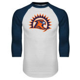 White/Navy Raglan Baseball T-Shirt-Sunbird Head