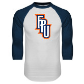 White/Navy Raglan Baseball T-Shirt-Angled FPU