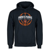 Navy Fleece Hoodie-Fresno Pacific Basketball Arched w/ Ball