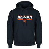 Navy Fleece Hoodie-Fresno Pacific University Swim & Dive Stencil