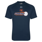 Under Armour Navy Tech Tee-Sunbirds Volleyball w/ Flying Ball