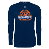 Under Armour Navy Long Sleeve Tech Tee-Fresno Pacific Water Polo