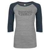 ENZA Ladies Athletic Heather/Navy Vintage Triblend Baseball Tee-Fresno Pacific Athletics Stacked Graphite Glitter