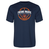 Performance Navy Tee-Fresno Pacific Basketball Arched w/ Ball