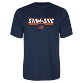 Performance Navy Tee-Fresno Pacific University Swim & Dive Stencil