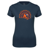 Ladies Syntrel Performance Navy Tee-Sunbird Head