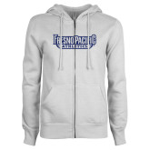 ENZA Ladies White Fleece Full Zip Hoodie-Fresno Pacific Athletics Stacked Dark Blue Glitter