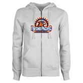 ENZA Ladies White Fleece Full Zip Hoodie-Fresno Pacific Sunbirds Stacked