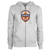 ENZA Ladies White Fleece Full Zip Hoodie-Sunbirds Soccer Shield