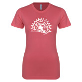Next Level Ladies SoftStyle Junior Fitted Pink Tee-Sunbird Head