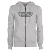 ENZA Ladies Grey Fleece Full Zip Hoodie-Fresno Pacific Athletics Stacked Graphite Glitter