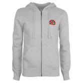 ENZA Ladies Grey Fleece Full Zip Hoodie-Sunbird Head