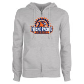 ENZA Ladies Grey Fleece Full Zip Hoodie-Fresno Pacific Sunbirds Stacked