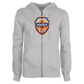 ENZA Ladies Grey Fleece Full Zip Hoodie-Sunbirds Soccer Shield