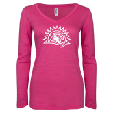 ENZA Ladies Hot Pink Long Sleeve V Neck Tee-Sunbird Head