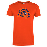 Ladies Orange T Shirt-Sunbird Head