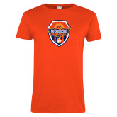 Ladies Orange T Shirt-Sunbirds Soccer Shield
