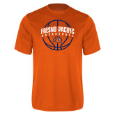 Performance Orange Tee-Fresno Pacific Basketball Arched w/ Ball