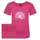 Ladies Dark Fuchsia Heather Tri-Blend Lace Tee-Sunbird Head