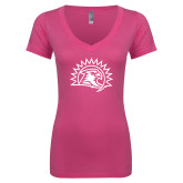 Next Level Ladies Junior Fit Ideal V Pink Tee-Sunbird Head