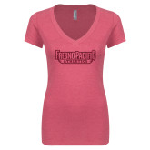 Next Level Ladies Vintage Pink Tri Blend V-Neck Tee-Fresno Pacific Athletics Stacked Hot Pink Glitter