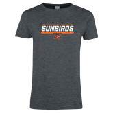 Ladies Dark Heather T Shirt-Fresno Pacific University Sunbirds Stencil
