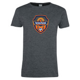 Ladies Dark Heather T Shirt-Sunbirds Soccer Shield