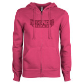ENZA Ladies Fuchsia Fleece Full Zip Hoodie-Fresno Pacific Athletics Stacked Hot Pink Glitter