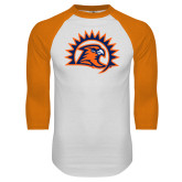 White/Orange Raglan Baseball T Shirt-Sunbird Head