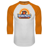 White/Orange Raglan Baseball T Shirt-Fresno Pacific Sunbirds Stacked