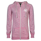 ENZA Ladies Hot Pink Marled Full Zip Hoodie-Sunbird Head