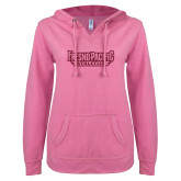 ENZA Ladies Hot Pink V Notch Raw Edge Fleece Hoodie-Fresno Pacific Athletics Stacked Hot Pink Glitter